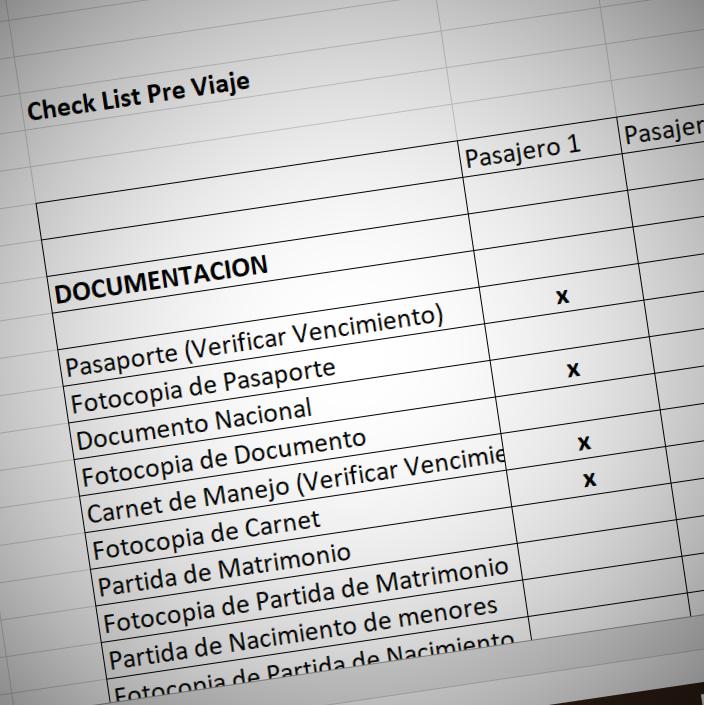 Check List pre viaje